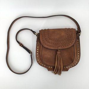 ANTIK KRAFT Brown Woven Tassel Vegan Crossbody Bag